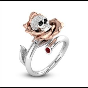 925 Sterling Silver Rose Gold Plated Skull Ring